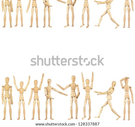 Set of wooden dummies isolated on a white background with copy space