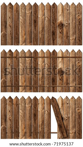 set of wooden fences over the white backgroynd