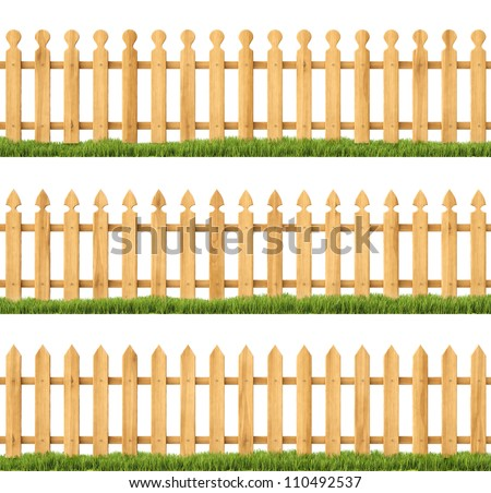 set of wooden fences with grass. Isolated on white. - stock photo
