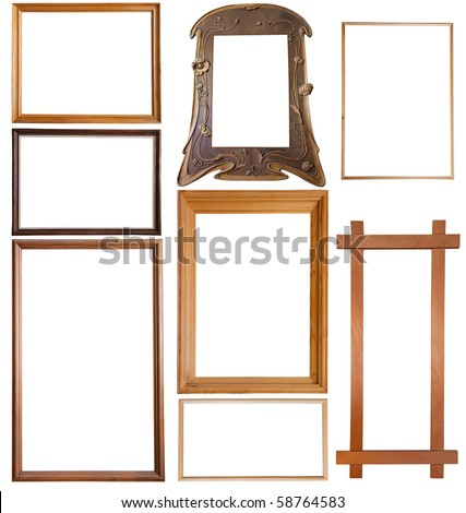 Set of 9 wooden picture frames, isolated with clipping path