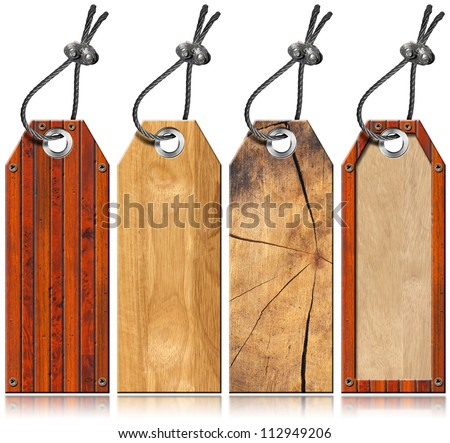 Set of Wooden Tags - 4 items / Four empty wooden tags with steel cable and metal rivets