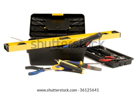 Set of work tools in the plastic box