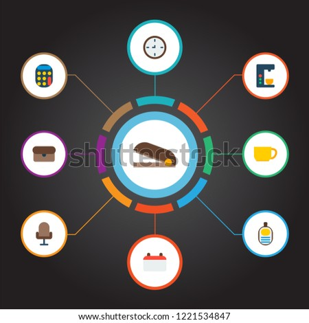 Set of workspace icons flat style symbols with wall clock, calendar, stapler and other icons for your web mobile app logo design.