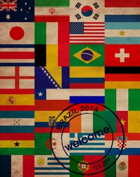 set of world flags in world cup in Brazil