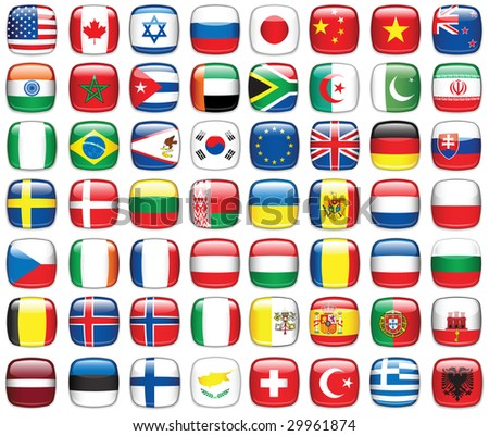 Set of world flags.Raster version of vector illustration.