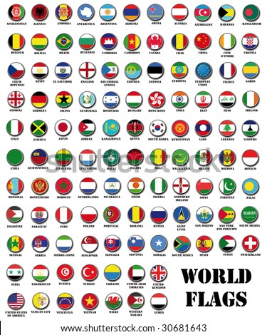 set of 115 world most important flags
