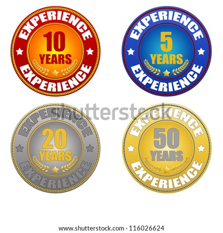Set of years experience sticker on white background