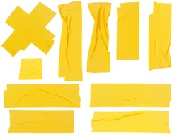 Set of yellow adhesive tapes isolated on white background