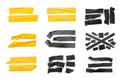 Set of yellow, black tapes on white background. Torn horizontal and different size black sticky tape, adhesive pieces.