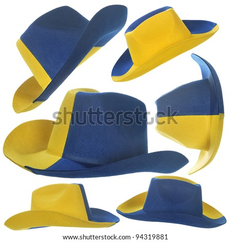 Set of yellow-blue cowboy hat, as an attribute of a football fan.