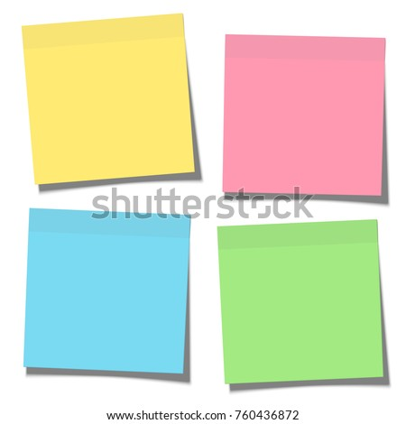 Set of yellow, green, blue and pink paper sticky notes glued to the surface isolated on white background