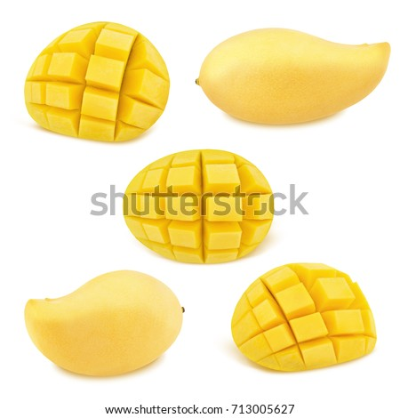 Popular free mango hedgehog style cut ripe mango half on a white detail set of yellow mangoes isolated on a white as design elements 713005627 ccuart Choice Image