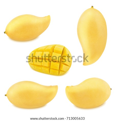 Popular free mango hedgehog style cut ripe mango half on a white detail set of yellow mangoes isolated on a white as design elements 713005633 ccuart Choice Image