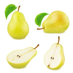Set of yellow pear fruits