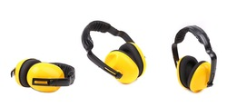 Set of yellow protective ear muffs. Isolated on a white background