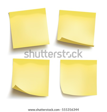 Set of yellow sheets of note papers. Four sticky notes.