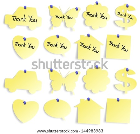 Set of yellow sticky notes blank and with thank you note / Thank you notes set