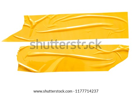 Set of yellow tapes on white background. Torn horizontal and different size yellow sticky tape, adhesive pieces. #1177714237