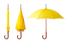 Set of yellow umbrellas isolated on white background. Opened and folded umbrellas on white
