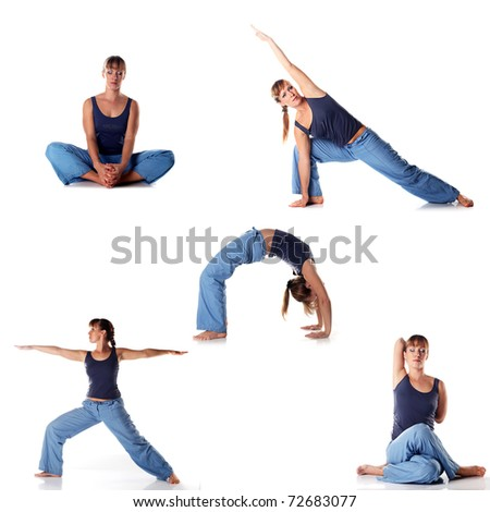 Set of young attractive female fitness.  Caucasian girl doing  yoga poses isolated on white background.