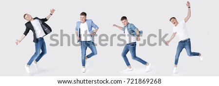 set of young happy handsome man in jeans and jacket jumping