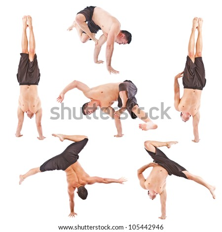 Set of young man acrobatics gymnastic isolated studio on white background