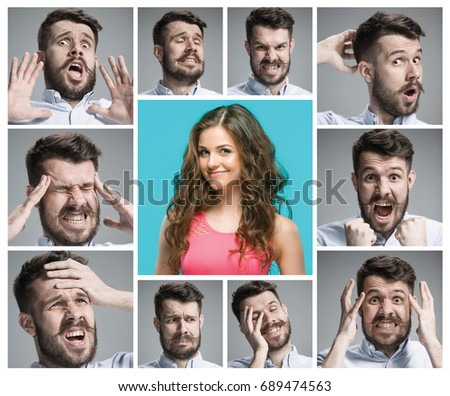 Set of young man's portraits with different emotions #689474563