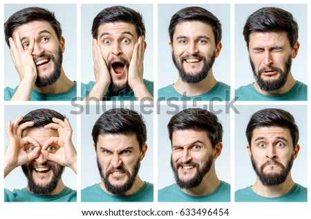 Set of young man's portraits with different emotions and gestures isolated #633496454