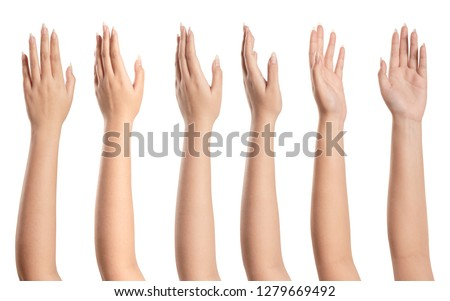 Set of young woman hand isolated on white ....