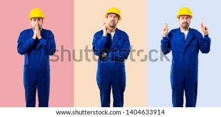 Set of Young workman wishing the best. Making a wish. on colorful background #1404633914