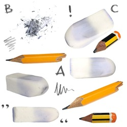 set old pencil, erasers, isolated on white background, with clipping path