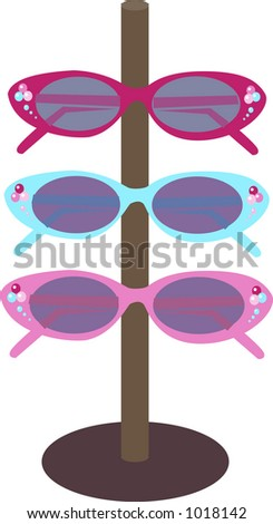 Set on three sunglasses on display at a boutique.