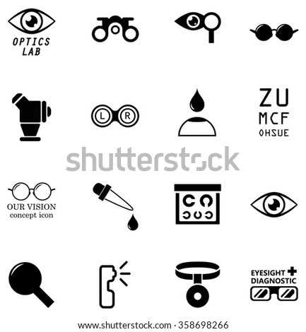 set optometry isolated icons on white background