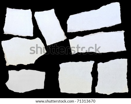 set paper scraps, cardboard isolated on black background