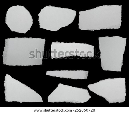 set paper scraps isolated on black background with clipping path,  high definition