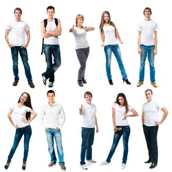 set photos of a young people smiling in white t-shirts