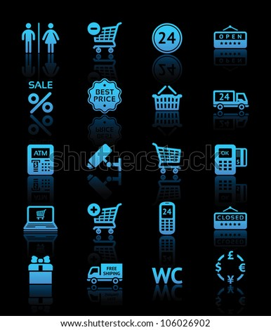Set pictogram supermarket services, Shopping blue icons. Eps version also available in my image gallery