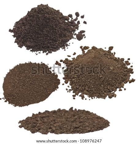 set pile dirt isolated on white background