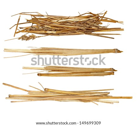 Set pile straw isolated on white, (with clipping path)