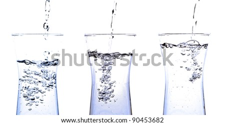 set pouring water into a glass