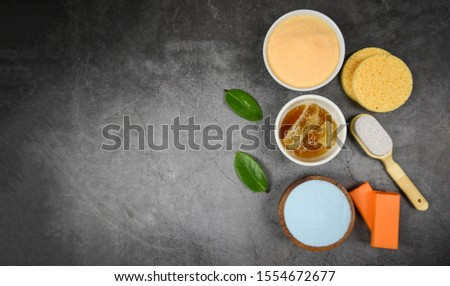 Set products natural body care herbal dermatology cosmetic hygienic for beauty skincare treatment personal hygiene salt scrub objects / Natural bath products honey soap herbs spa aromatherapy  #1554672677