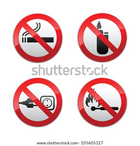 Set prohibited signs - flames