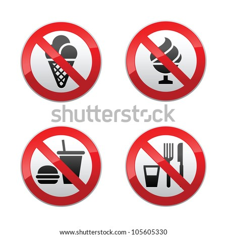 Set prohibited signs - foods