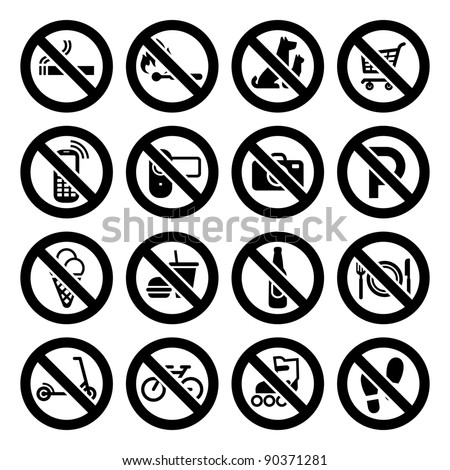 Set prohibited symbols, shop black signs.Bitmap copy my vector ID 87225793