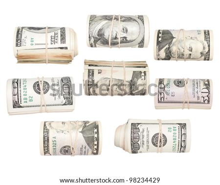 Set Roll of dollars isolated on white, with clipping path.