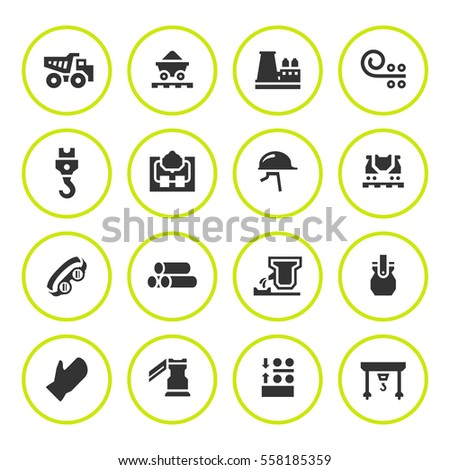 Set round icons of metallurgy isolated on white