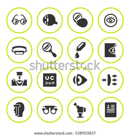 Set round icons of ophthalmology and optometry isolated on white
