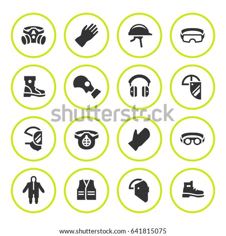 Set round icons of personal protective equipment isolated on white