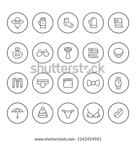 Set round line icons of accessories isolated on white