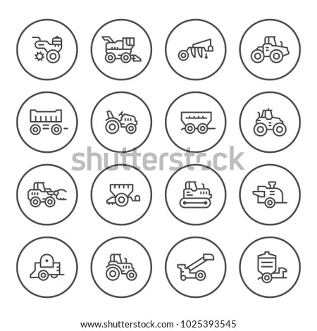 Set round line icons of agricultural machinery isolated on white